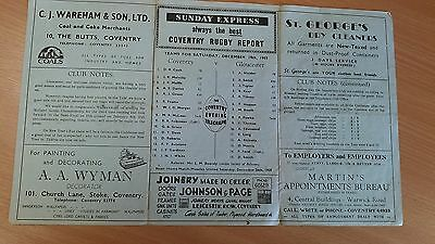 Coventry v Gloucester 19th December 1959 Rugby Programme