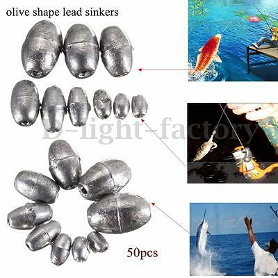 50Pcs Metal Olive Shape Leads Sinkers Pure Lead Fishing Sinker Weights All Sizes