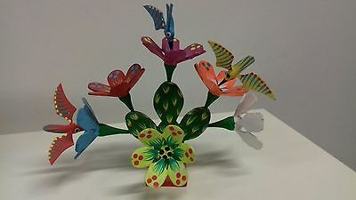 Flowering Cactus & Humming Birds Oaxacan Alebrije Wood Carving Mexican Folk Art
