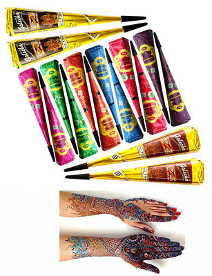 Quick Dry Multi Color Instant Golecha Dark Henna Mehandi Mehndi Cone Body Art