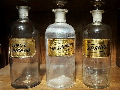Lot of 3 Antique Apothecary Pharmacy GOLD LABEL LUG 10 inch bottles