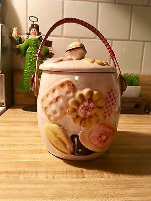 Vintage/Antique Rare cookie decorated cookie jar with handles