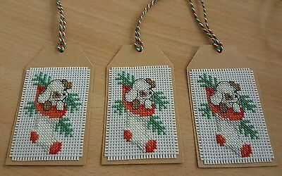 Handmade Cross Stitch Christmas Gift Tags - Dog in Stocking