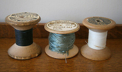 THREE VINTAGE 1920s/30s LARGE COTTON REELS BLACK WHITE & GREEN