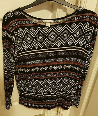 H&m Mama Size Medium Patterned Long Sleeve Top