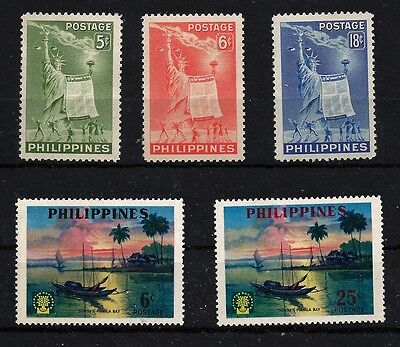 PHILIPPINES 5 timbres 1952 1960