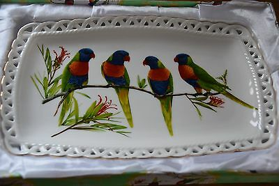 Ornate Parrot china plate in gift box (Belleek style edge)