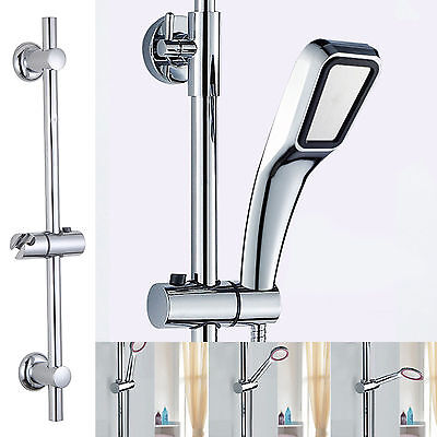Modern Chrome Adjustable Shower Riser Slide Rail Bar Bracket Kit 5 Mode Handset