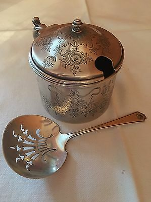 Antique Whiting Sterling Silver Mustard Pot - ruby glass insert & Pierced Spoon