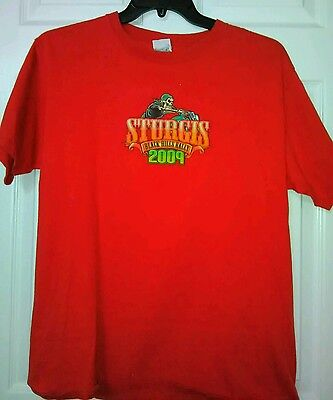 STURGIS 2009 Black Hill Rally T-Shirt. Red 2 sided **LARGE**  Never Warn*******