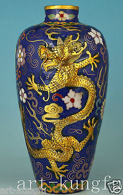 Chinese Old Cloisonne Bronze Hand Carved phenix Dragon Statue Vase Decoration