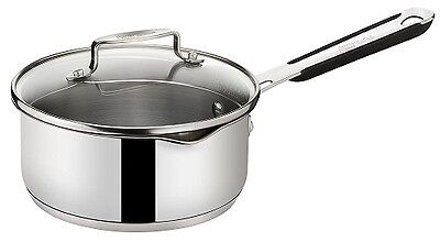 Jamie Oliver 16cm Saucepan with Draining Glass Lid Stainless Steel Induction