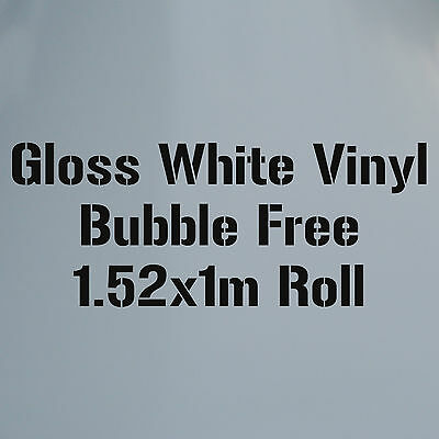 Gloss White 1.52M x 1M AIR/BUBBLE FREE Self Adhesive Vinyl Car Wrap Roll