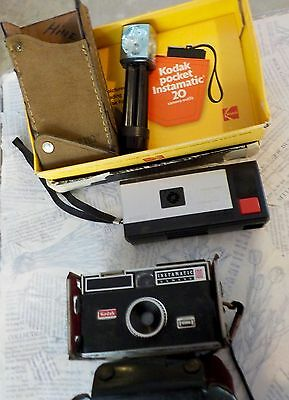 Lot of 2 Vintage Kodak Pocket Instamatic 20 Outfit & Instamatic 100 With Case