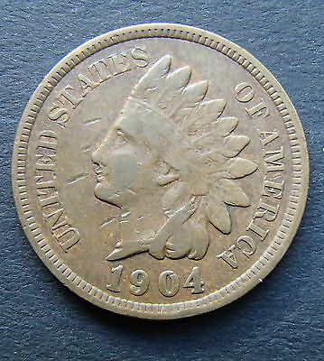 1904 USA Indian Head Penny - Circulated Coin - 172
