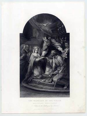 Die Vermählung Maria´s - orig. Stahlstich Vanloo 1845 The Marriage of the Virgin