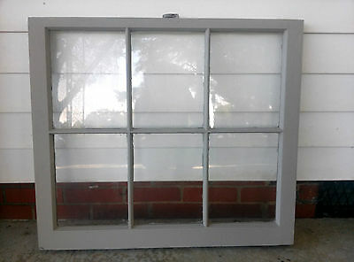 Old Vintage Unique Antique Window Frame 6 Pane Sash 32X28 French Linen Painted