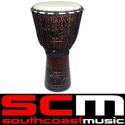 "Toca 12"" Wood Djembe Hand Drum Carved Mahogany Pattern TOCTKSDJLM Brand New"