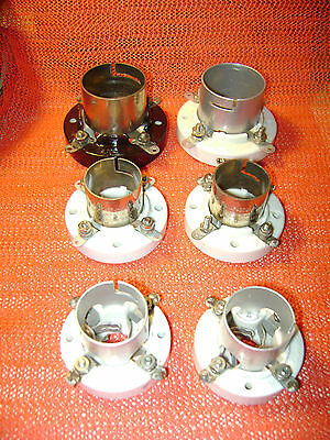 6- old porcelain Johnson and RCA tube sockets