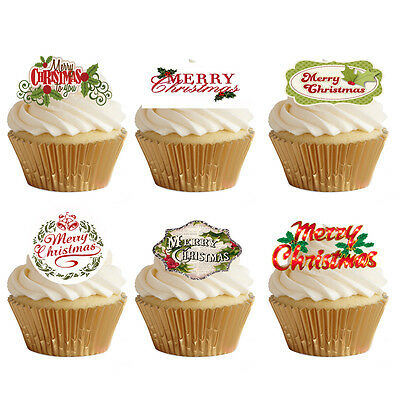 24 Stand Up Merry Happy Christmas Words SignsEdible Wafer Paper Cupcake Toppers