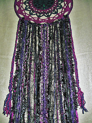 Large 110cm black purple crocheted dream catcher Wall hanging goth pagan wicca
