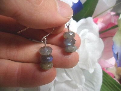 Faceted Ab Blue Gold Labradorite Bead Dangle Drop Earrings 925 Sterling Silver