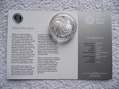 Alderney £5 Silver Proof:2009 Alfred The Great.