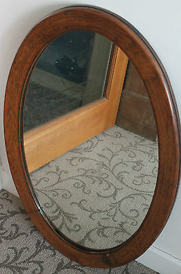 Large Antique Edwardian Oak Tall Oval Wooden Inlaid Mirror 75cm c.1910