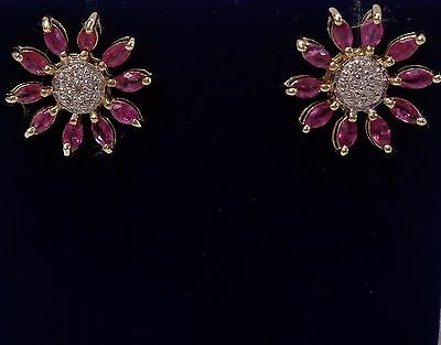 9ct Yellow Gold Ruby and Diamond Large Cluster Stud Earrings