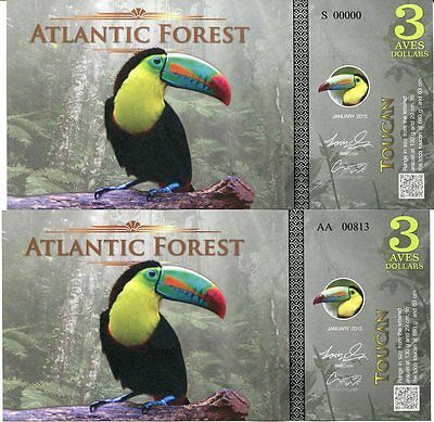 Atlantic Forest 26 27 28 Aves Dollars 2016 Roller Puffin Starling 3 Pcs Set