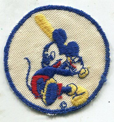 WWII Mickey Mouse Playing Baseball Disney Patch In WHITE