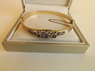 10ct Rolled Gold Stone-Set Bracelet With Safety Chain