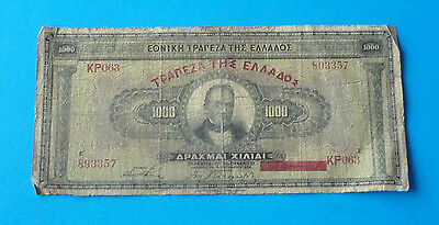 Greece 1926 One Thousand (1000) Drachma Note No: KP063 893357 Ref FBN582