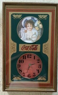 "Beautiful Collectible Vintage Original ""COCA COLA"" Clock In Wood Frame 1973"""