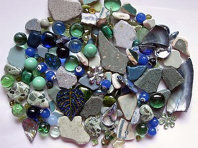 Mosaic Pieces Tile Beach Pottery Beads Embellishment Marbles 116+ Pc Green Blue