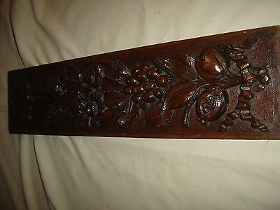 Antique Ornate Oak Carved Pediment or Salvage Piece. Carved Flowers, Leaves 9456