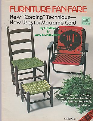 FURNITURE FAN-FARE Macrame PATTERN Book 22 Projects Chairs Lawn Furniture