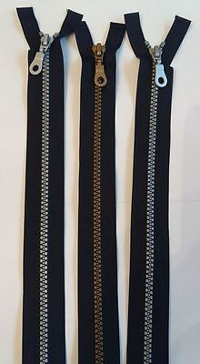 26 & 24 inch chunky moulded open zips Black  with Silver or Brass teeth £2.00