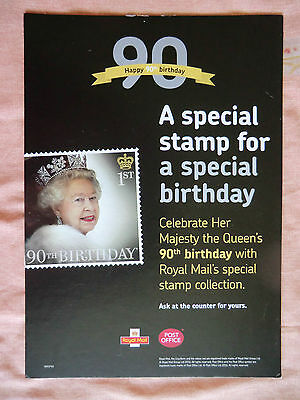 The Queen's 90th Birthday Royal Mail Counter Display Poster