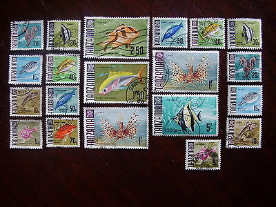 TANZANIA FISH Definitives 20 Stamps assembly USED to include Reprints.