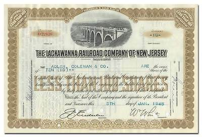 Lackawanna Railroad Company of New Jersey Stock Certificate