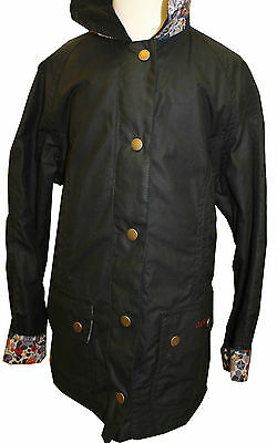 GIRLS BARBOUR Chamber Beadnell Wax Jacket in Navy - Size M