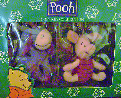 New In Box Eeyore and Piglet Plush Coin Key Ring Backpack Clips