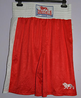 Lonsdale Red/White Polyester Boxing Shorts - Medium