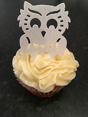 25 Large Precut Cute White Owls Birds Edible Wafer Paper Cake Toppers
