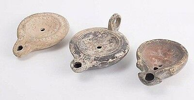 Lot of 3 Ancient Roman Terracotta Oil Lamps c.2nd century AD.