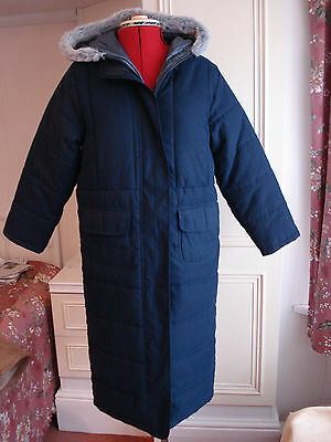M&s Girls Thick Dark Blue Navy Quilted Coat With Hood Faux Fur Age 9-10 Nwot