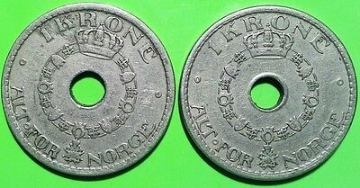Lot 2 pc vintage coins Norway KM#385 1940 krone Haakon VII Norge VVII I DO COMBI
