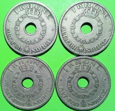Lot 4 pc vintage coins Norway KM#385 1925 rare krone Haakon VII Norge old I DO C