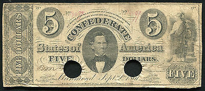 T-34 1861 $5 Five Dollars Csa Confederate States Of America Banknote